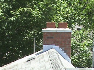 Chimney on roof in Toronto.