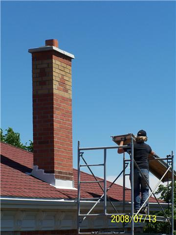 Chimney Repaired with Turnbull Masonry workers.